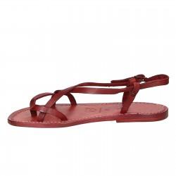 Sandalias para señoras hechas a mano en cuero rojo