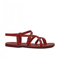 Womens rojas plana sandalias gladiador hecho a mano en Italia