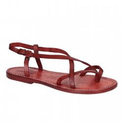 Sandales femme artisanales en cuir veritable rouge