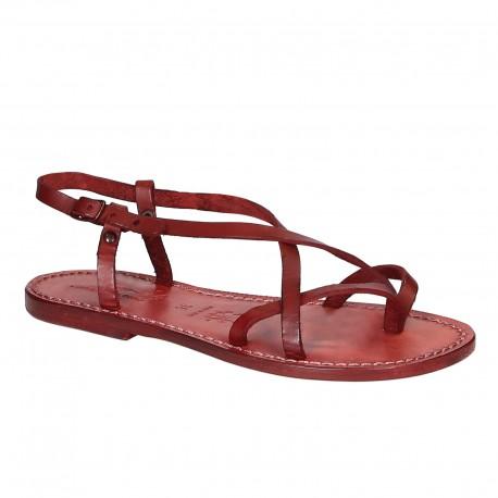 Sandali cuoio artigianali donna in pelle rosso