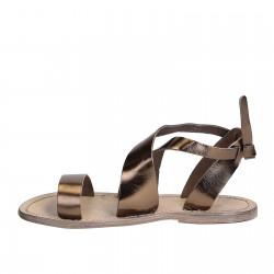 Damen-Sandalen im Vintage-Look aus aus bronzen Leder in Italien von Hand gefertigt