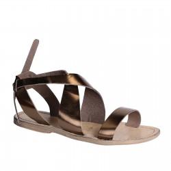 Sandalias de las mujeres en cuero bronce hecho a mano en Italia