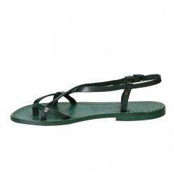 Sandales femme artisanales en cuir veritable vert