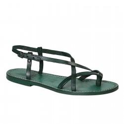 Sandalias para señoras hechas a mano en cuero verde