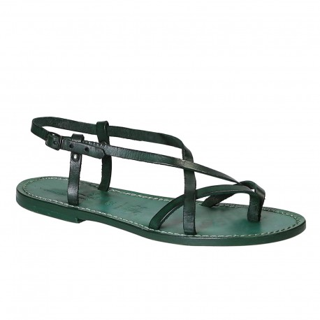 Handmade women's sandals in green leather Made in Italy