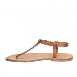Sandalias en cuero marrón claro hecha a mano en Italia