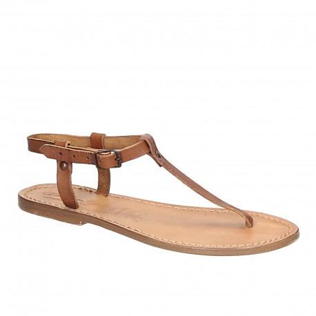 T-strap thong sandals in tan Leather handmade in Italy