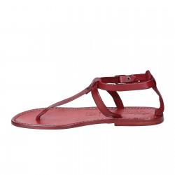 Tongs sandales pour femme travaillé à la main en cuir rouge