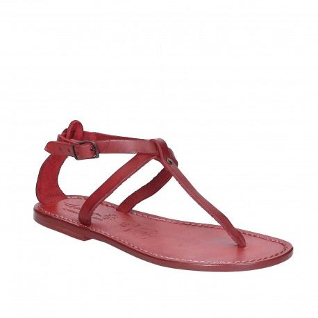 Women's t-strap sandals in red Leather handmade in Italy