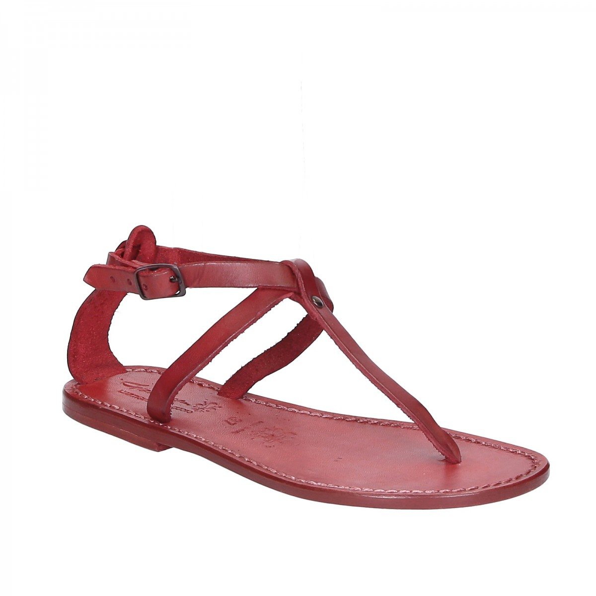 damen riemchen sandalen aus rotem leder in italien von. Black Bedroom Furniture Sets. Home Design Ideas