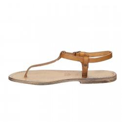 Handgefertigte italienische Sandalen aus hellbraunem Vintage-Effekt Leder