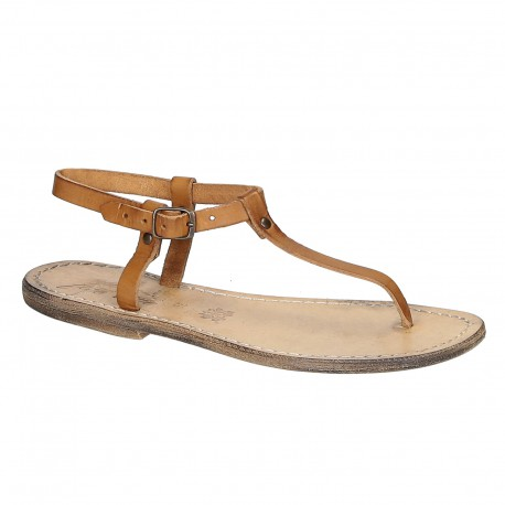 T-strap thong sandals in tan vintage Leather handmade in Italy