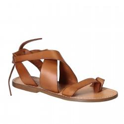 Damen-Sandalen aus hellbraunem Leder in Italien von Handgefertigt
