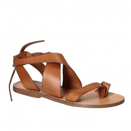Sandali donna fatti a mano in pelle colore cuoio