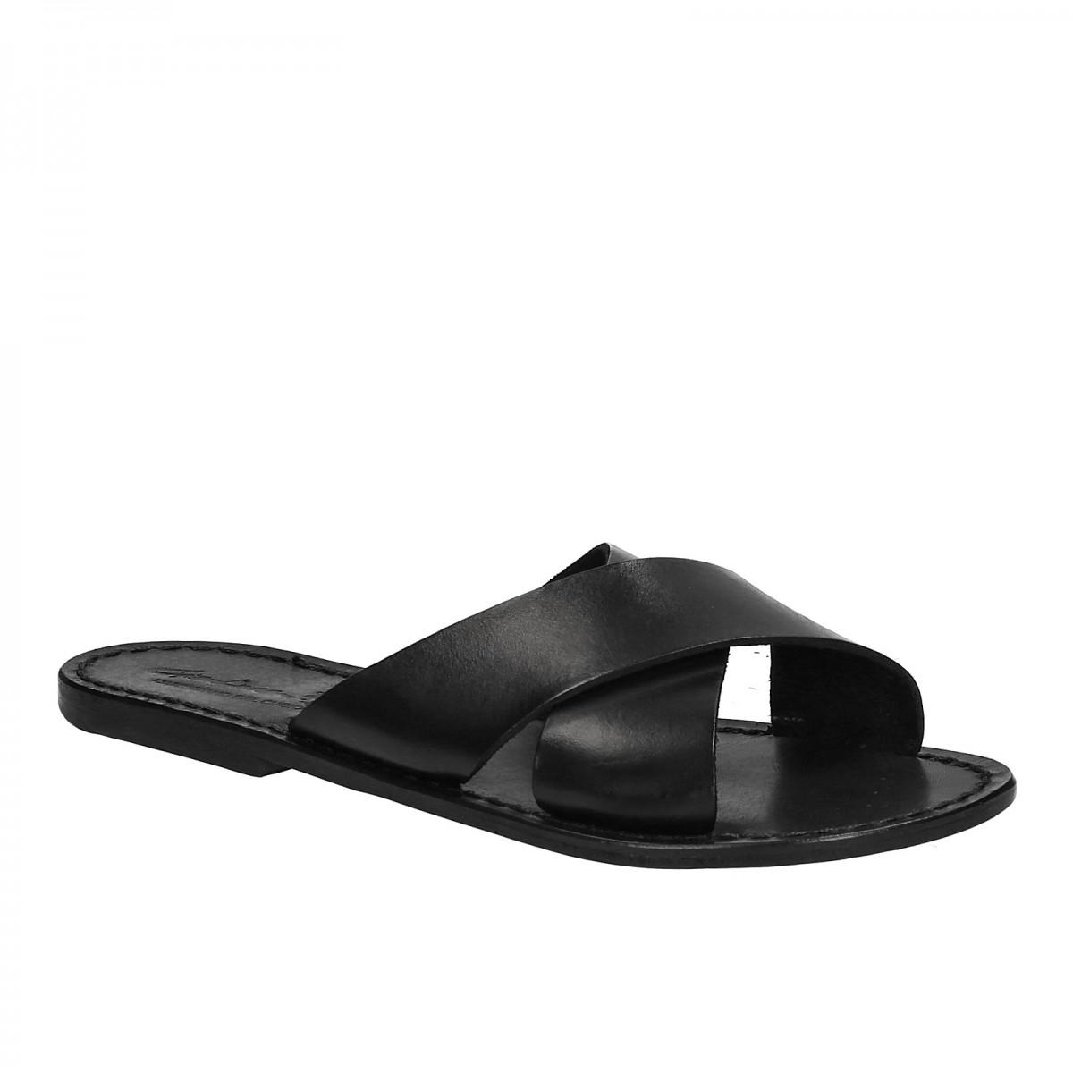 984e94b40612a Claquettes en cuir noir pour femme artisanales | Gianluca - L ...