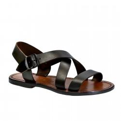 Sandalias en cuero marrón oscuro para mujer hechos a mano en Italia