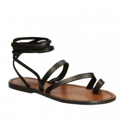 Hecho a mano sandalias de tiras planas de cuero marrón ternero