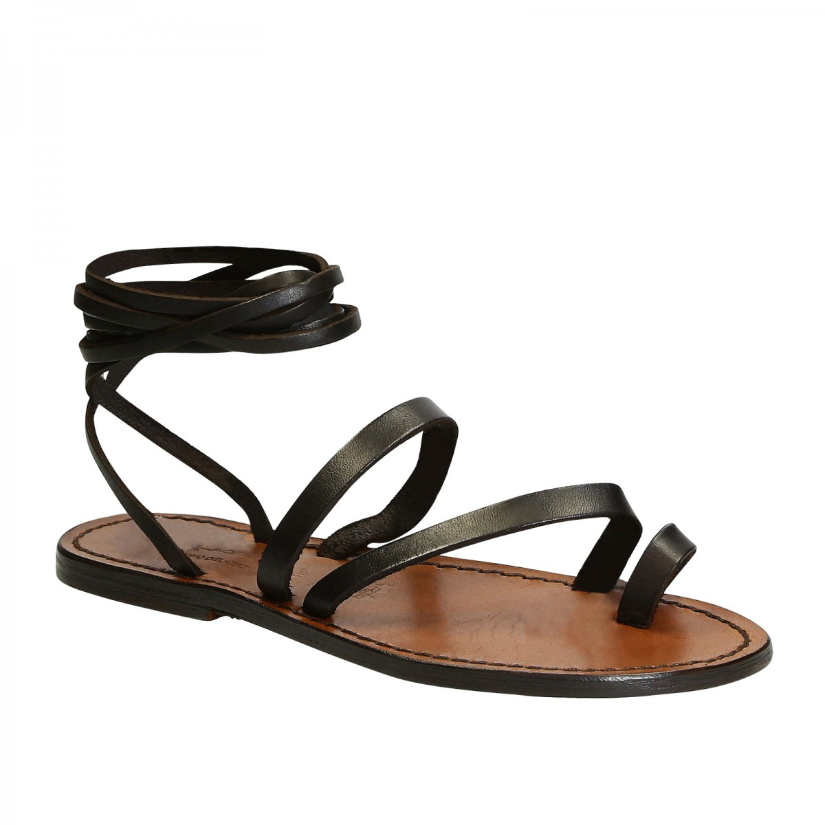 227ce60caf501 Handmade flat strappy sandals in brown calf leather