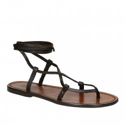 Hand gefertigt italienische Gladiator-Sandalen aus braunem Kalbs-Leder