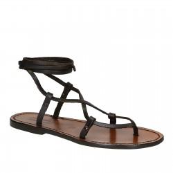 Sandalias de gladiador de tiras hechas a mano en cuero marrón ternero