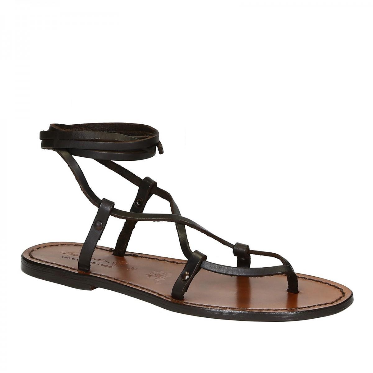 01b587e9e4f ... gladiator sandals in brown calf leather. Reduced price! Scarpe a  schiava fatte a mano in pelle testa di moro. Loading zoom