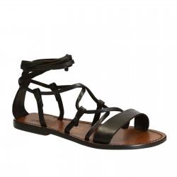 Sandales spartiate artisanales fait en Italie en cuir marron