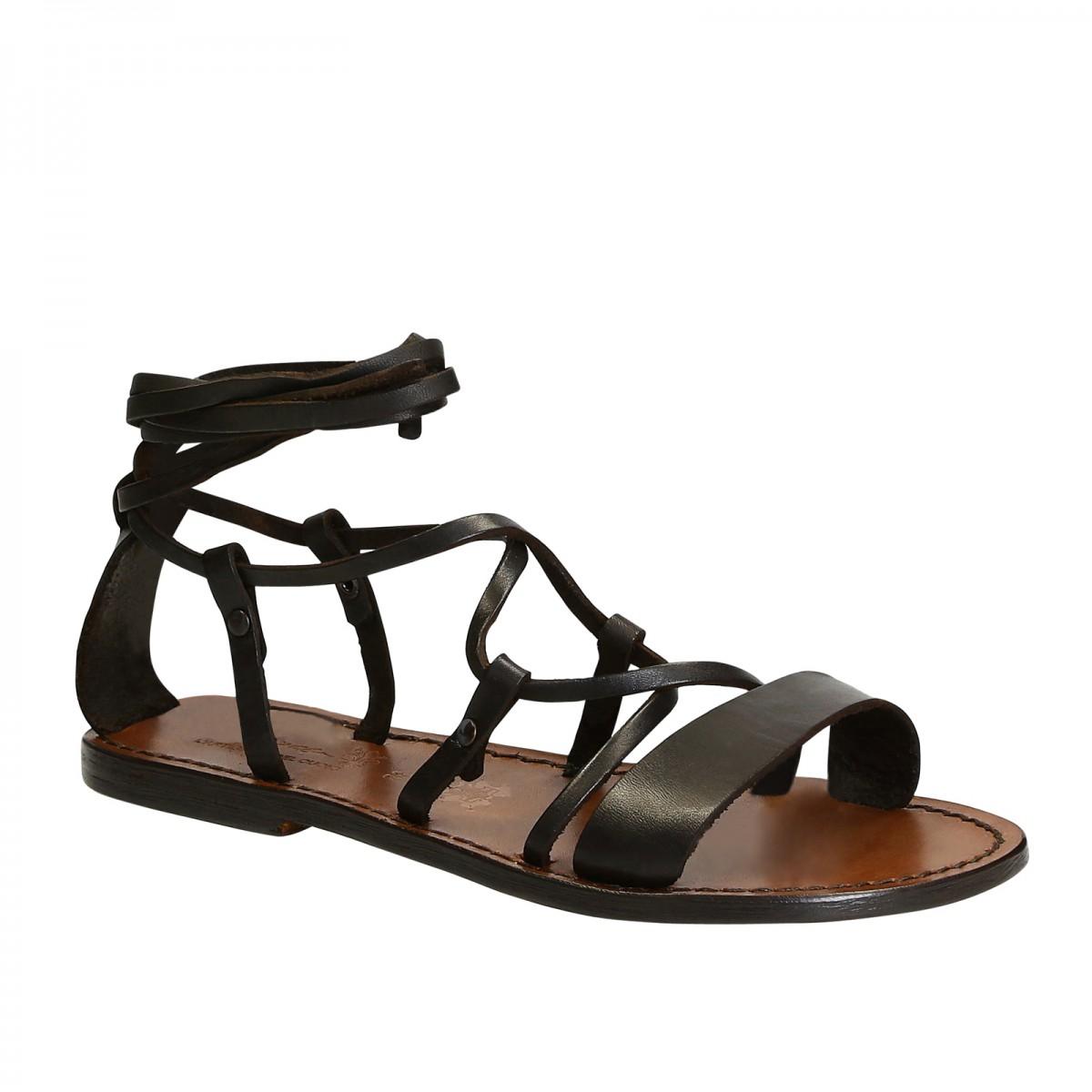c5bcb5e82ef Handmade lace-up gladiator sandals in brown calf leather