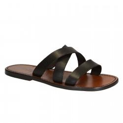 Handgemachte braunem Leder Herren Pantoffeln Sandalen