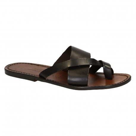 Handmade brown leather thongs braid around the big toe and leather sole