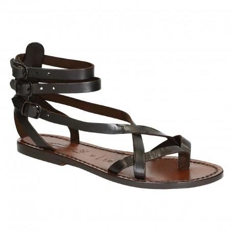 Hand gefertigte Damen-Sandalen im Slave-Look aus dunkelbraunem Leder