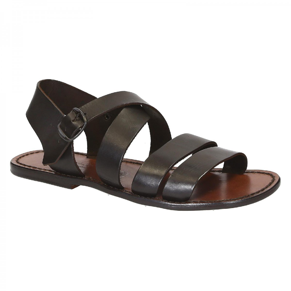 hand gefertigte herren sandalen aus dunkelbraunem leder gianluca das leder handwerker. Black Bedroom Furniture Sets. Home Design Ideas