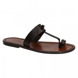 Sandalias de dedo para mujers en cuero marrón oscuro