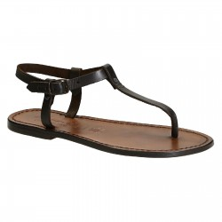 Thong sandals in Dark Brown Leather handmade in Italy