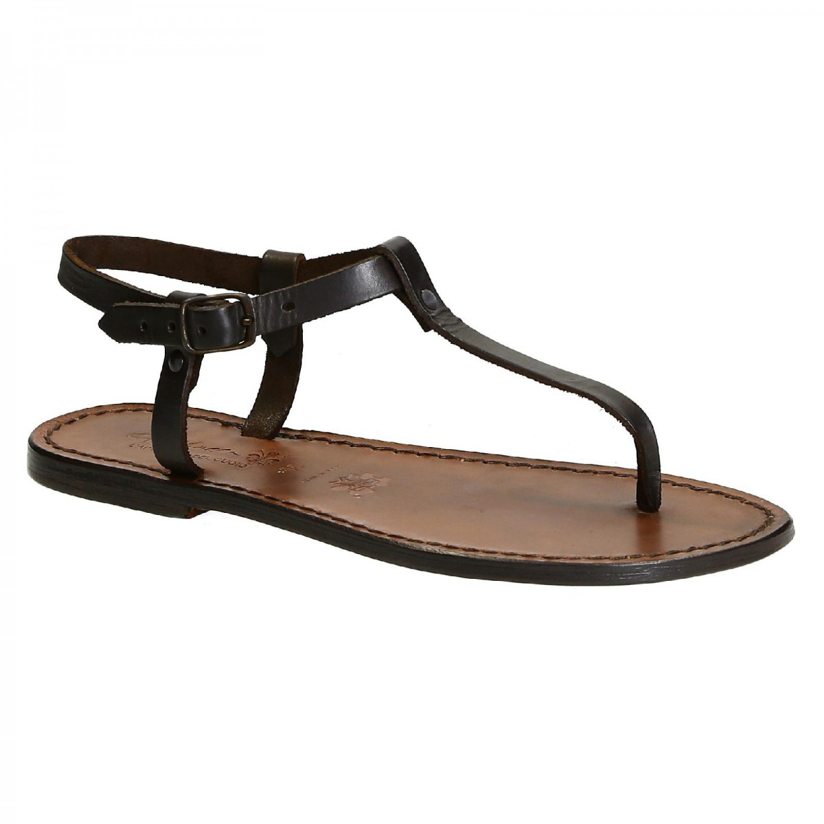 1db8fea795b Thong sandals in Dark Brown Leather handmade in Italy. Loading zoom