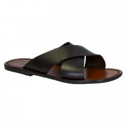 Mens zapatillas de cuero hecho a mano en Italia en cuero marrón oscuro