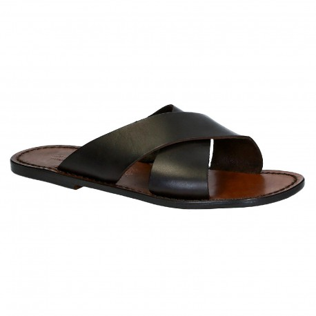 Mens leather slippers handmade in Italy in dark brown leather