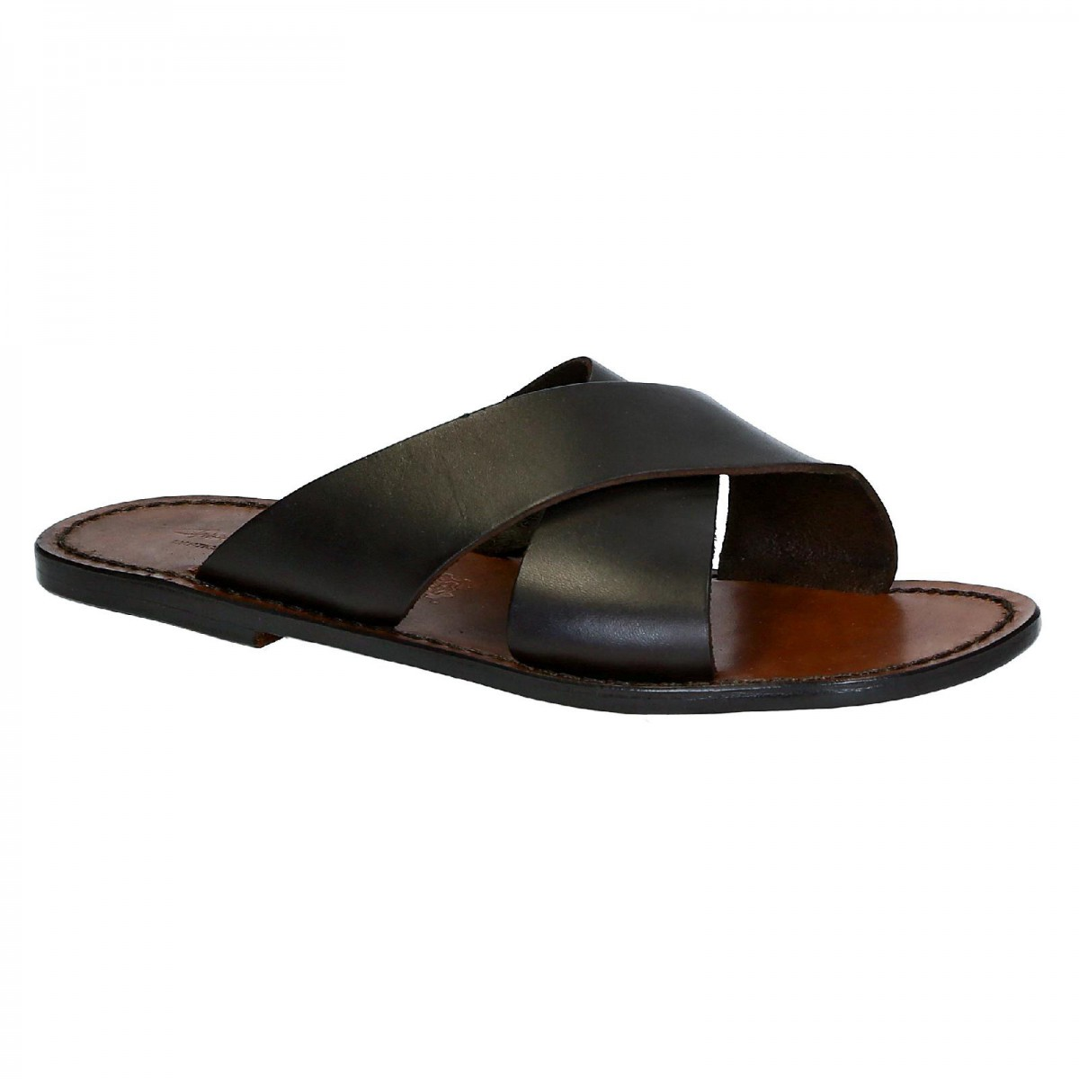 Mens leather slippers handmade in Italy