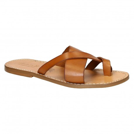 Handmade italian leather thongs sandals for men