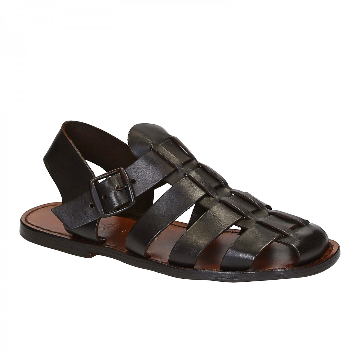 c3e91b6cf577 Handmade in Italy mens Franciscan sandals in dark brown leather. Loading  zoom