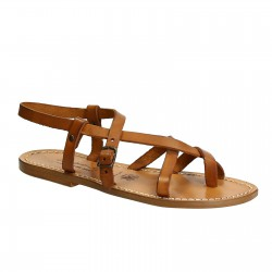 Handgefertigte Damen-Sandalen im Slave-Look aus Lederbraunem Leder