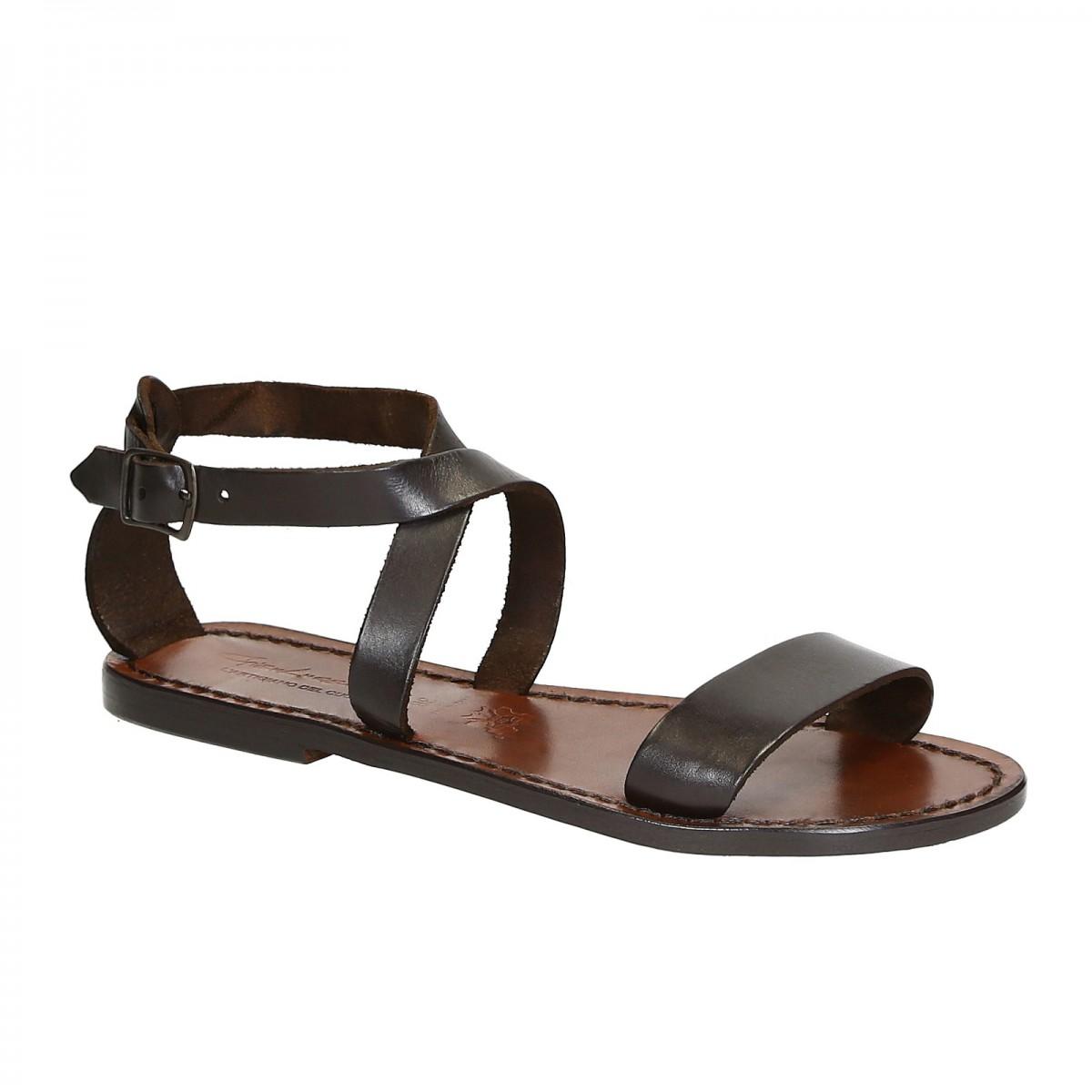 pretty nice 4eb85 34710 Damen-Sandalen aus dunkelbraunem Leder in Italien von Hand gefertigt