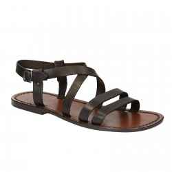 Sandales franciscaines pour homme en cuir marron travaillé à la main