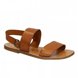 Sandali uomo fatti a mano in pelle color cuoio antico