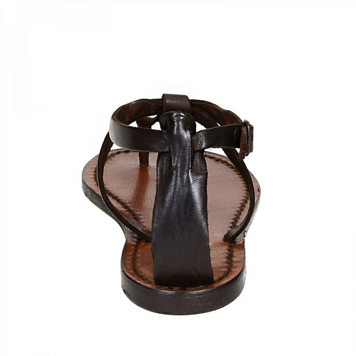 Womens Thong Sandals In Dark Brown Leather Handmade In