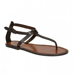 Womens thong sandals in Dark Brown Leather handmade in Italy
