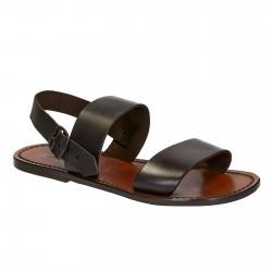 Sandalias hechas a mano mens en cuero marrón oscuro hecho en Italia