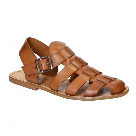 Hand made mens sandals in vintage cuir leather crafted in Italy