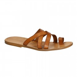 Mens de cuero sandalias hechas a mano en Italia en cuir vintage cuero