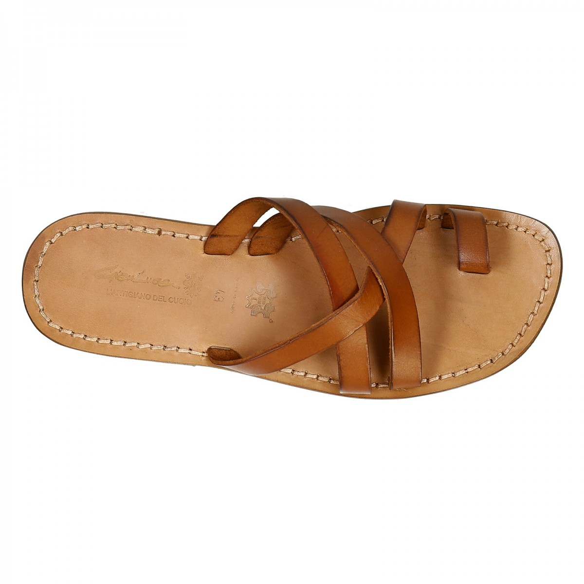 1cc880365 Mens leather thong sandals handmade in Italy in vintage cuir leather.  Previous. Next