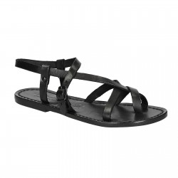 Womens black strappy sandals handmade in cuir leather